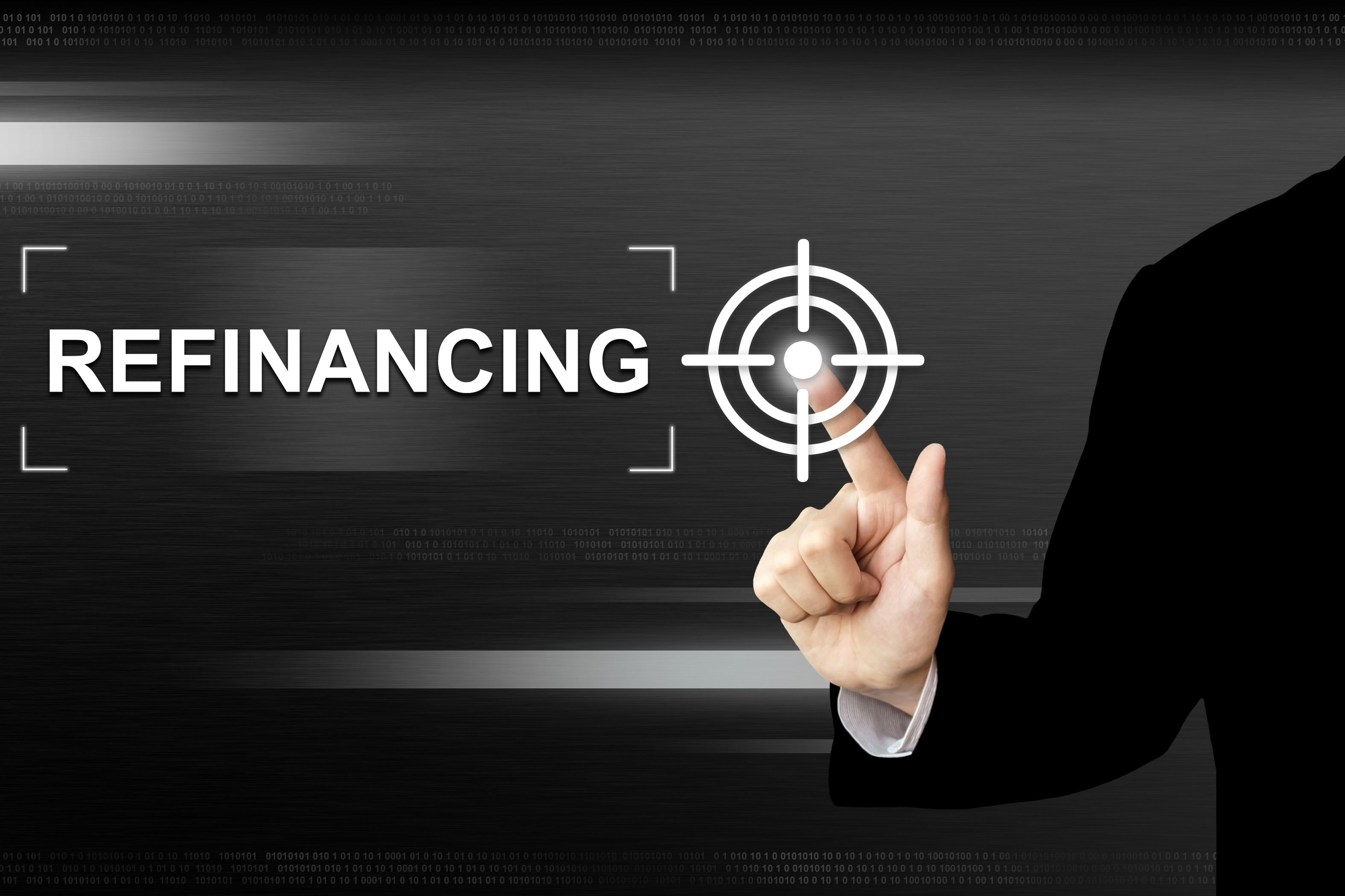 business hand clicking refinancing button on a touch screen interface