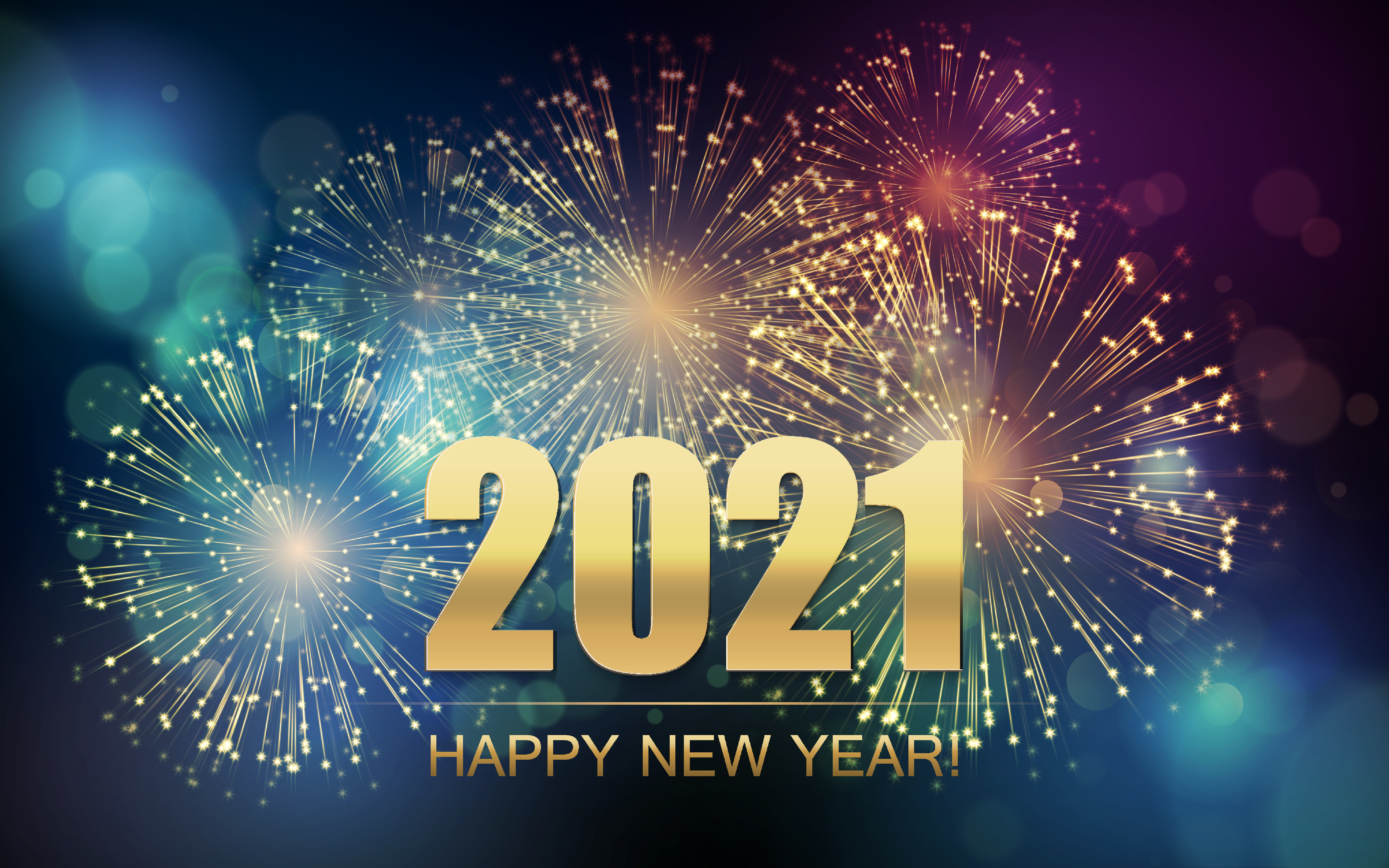 2021 New Year Abstract background with fireworks.